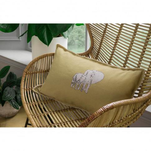 Sophie Allport Zsl Elephant Cushion 30 X 50cm, Mustard
