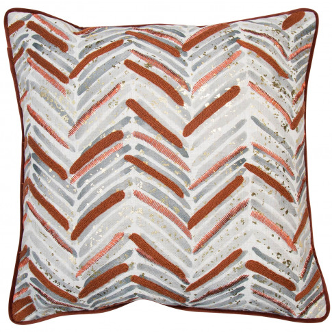 Malini Chevron Printed Cushion, 45 X 45cm, Rust