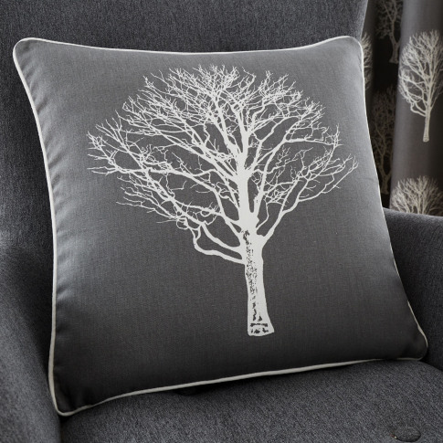 Rosenthal Woodland Trees Cushion, 43x43cm, Charcoal