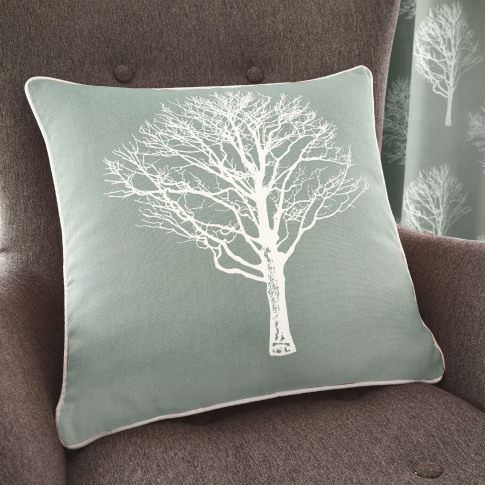 Rosenthal Woodland Trees Cushion, 43x43cm, Duck Egg