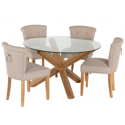 Round Glass Dining Table And 4 Cream Linen Camden Di...