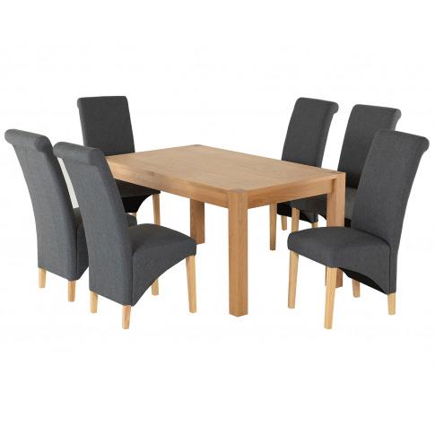 Rectangular Oak Dining Table And 6 Grey Linen Turin ...