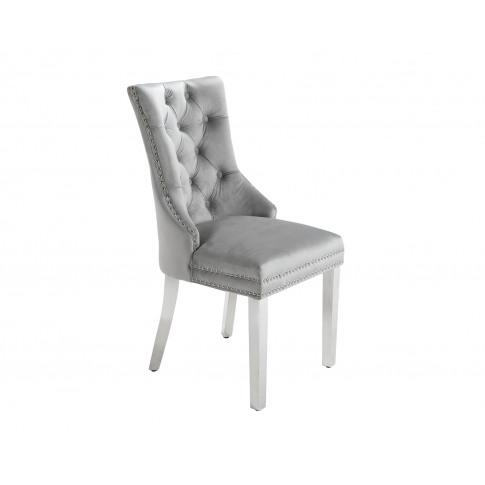 Ashford Dining Chair In Light Grey Velvet With Squar...