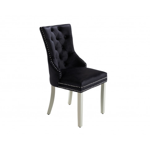 Ashford Dining Chair In Black Velvet With Square Kno...