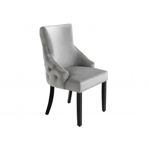 Elizabeth Dining Chair In Light Grey Velvet With Round Knocker And Black Legs
