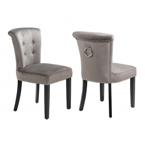 Pair Of Camden Velvet Scroll Top Dining Chairs In Grey With Knocker