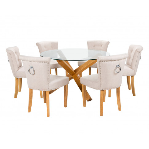 Large Round Glass Dining Table And 6 Cream Linen Cam...