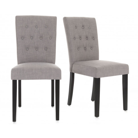 Pair Of Florence Button Back Linen Dining Chairs In ...