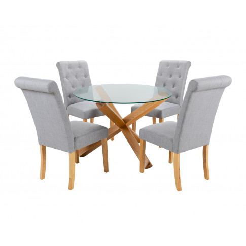 Round Glass Dining Table And 4 Grey Linen Romano Din...