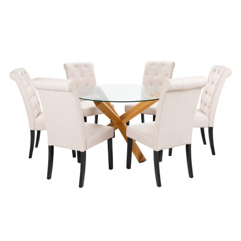 Large Round Glass Dining Table And 6 Cream Linen Rom...