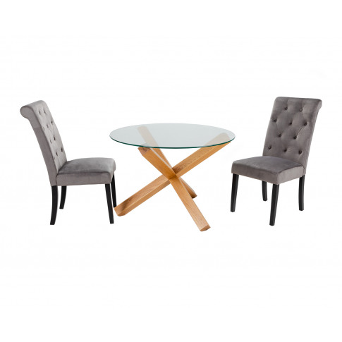 Round Glass Dining Table And 2 Grey Velvet Romano Dining Chairs
