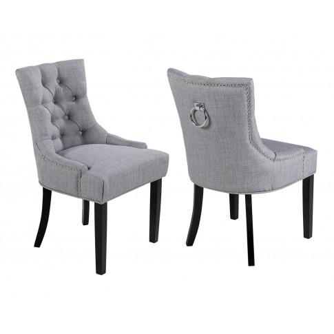 Pair Of Verona Scoop Back Dining Chair In Grey Linen...