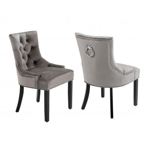Pair Of Verona Scoop Back Velvet Dining Chairs In Gr...