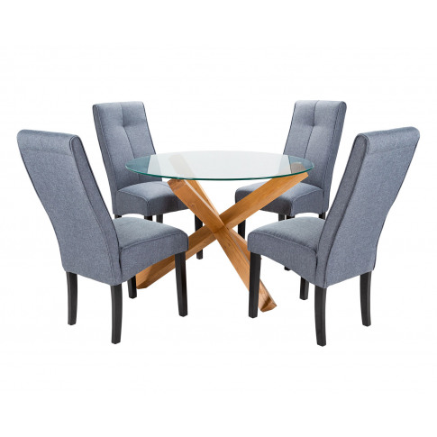 Round Glass Dining Table And 4 Grey Linen Vienna Din...