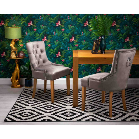Verona Dining Chair In Grey Velvet With Chrome Knocker And Oak Legs
