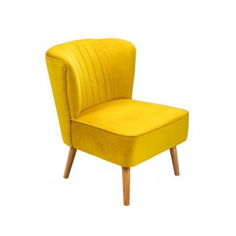 Lucy Oyster Accent Chair In Mustard Velvet With Natu...