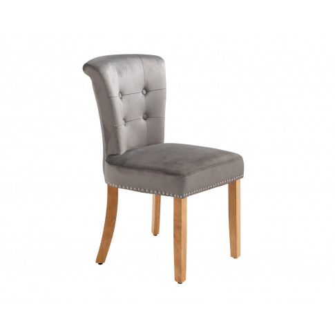 Camden Scroll Top Dining Chairs In Grey Velvet With ...