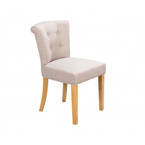 Camden Scroll Top Dining Chair In Cream Linen With K...
