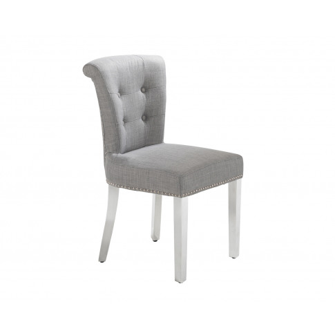 Camden Dining Chair In Grey Linen With Chrome Knocke...