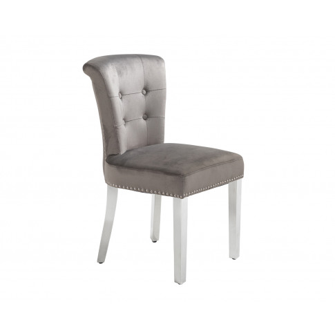 Camden Dining Chair In Grey Velvet With Chrome Knock...