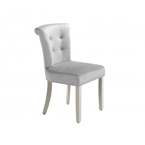 Camden Dining Chair In Light Grey Velvet With Chrome...