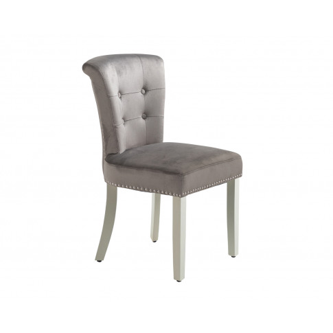 Camden Dining Chair In Grey Velvet With Chrome Knock...