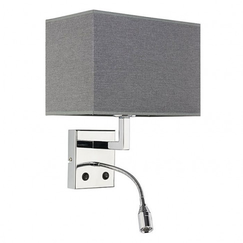 Edit Hotel Wall Light With Led Reading Light - Grey