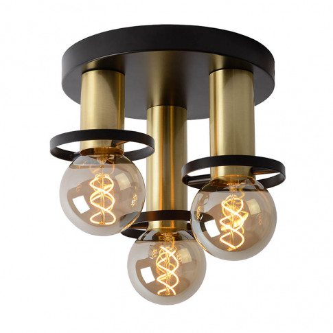 Lucide Anaka 3 Arm Flush Ceiling Light - Black & Gold