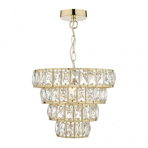 Dar Cerys Crystal Chandelier - Polished Gold