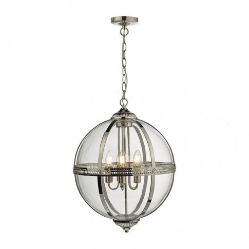 Dar Vanessa 5 Arm Ceiling Pendant Light - Polished N...