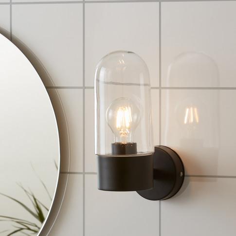 Zen Clear Glass Bathroom Wall Light - Black