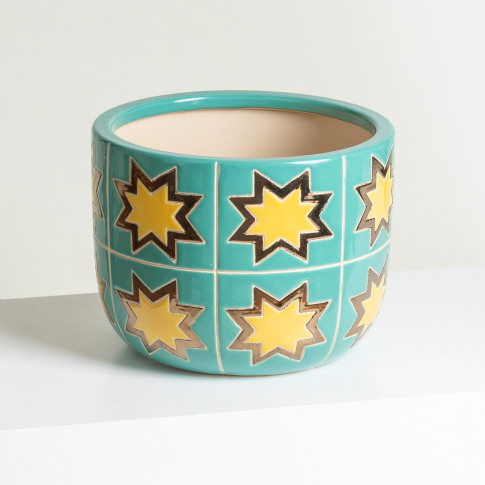 Star Green Ceramic Plant Pot Medium