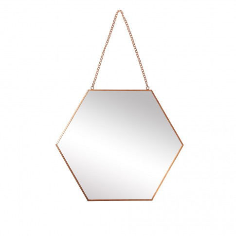 Rose Gold Hexagon Hanging Wall Mirror Small