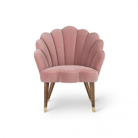 Flora Scalloped Dusty Pink Velvet Armchair