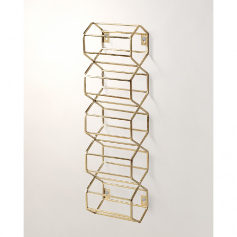 Hexagon Gold Wall Wine Rack