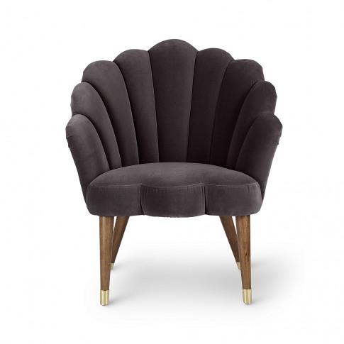 Flora Scalloped Dark Grey Velvet Armchair