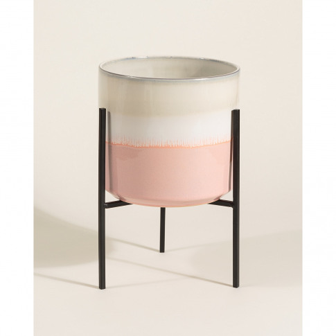 Abuo Pink & Grey Ceramic Plant Pot & Stand Short