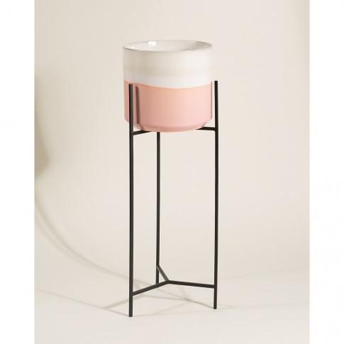 Abuo Pink & Grey Ceramic Plant Pot & Stand Tall