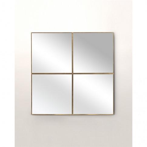 Square Gold Window Pane Mirror Small