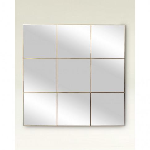 Square Gold Window Pane Mirror Large