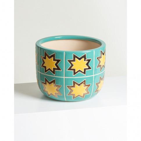 Star Green Ceramic Plant Pot Medium