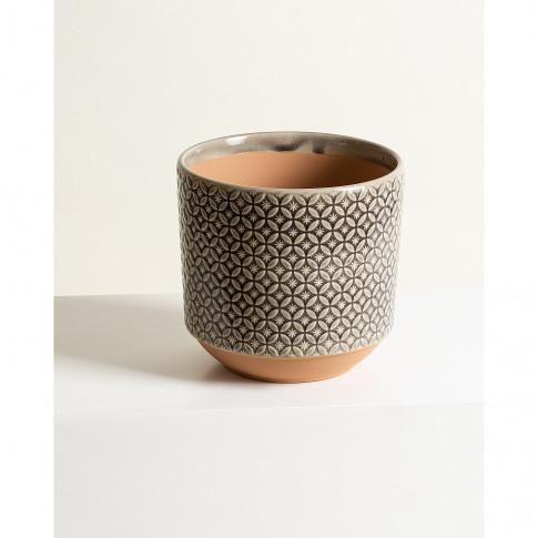 Modelo Geometric Dark Grey Stoneware Plant Pot Large