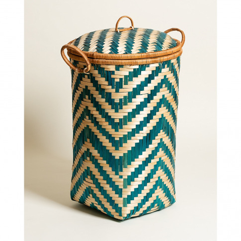 Round Woven Blue Bamboo Laundry Basket Small