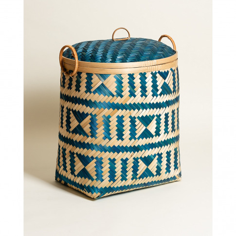 Oval Woven Blue Bamboo Laundry Basket Small