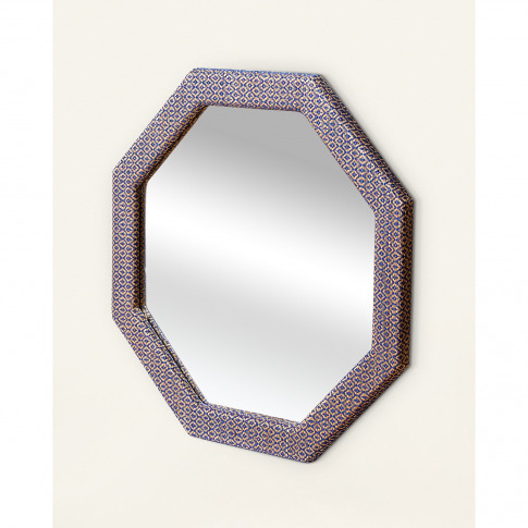 Octagon Blue Woven Wall Mirror Small