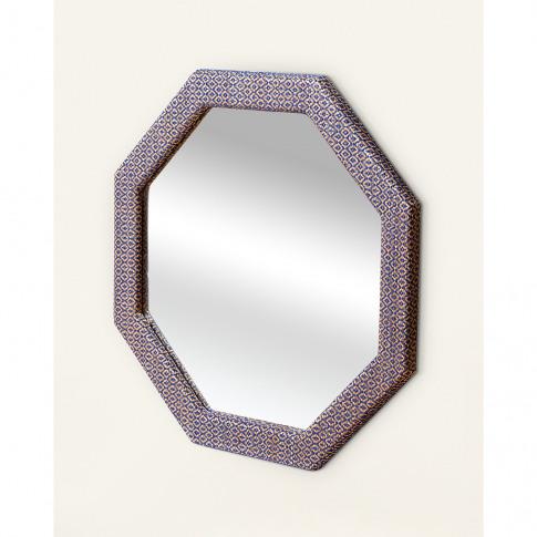 Octagon Blue Woven Wall Mirror Small
