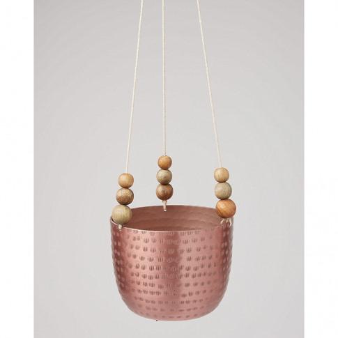 Copper Beaded Metal Hanging Planter