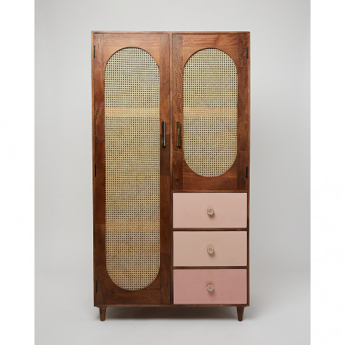 New Boys Elba Pink Mango Wood Wardrobe
