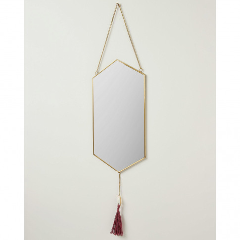Hexagon Gold Metal Shell & Tassel Wall Hanging Mirror