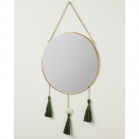 Circle Gold Metal Shell & Tassel Wall Hanging Mirror